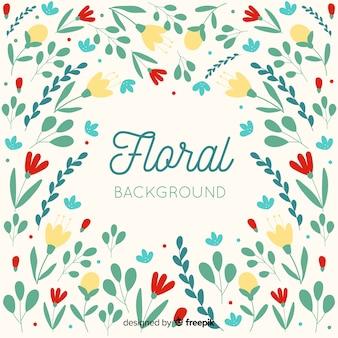 Fond floral coloré design plat