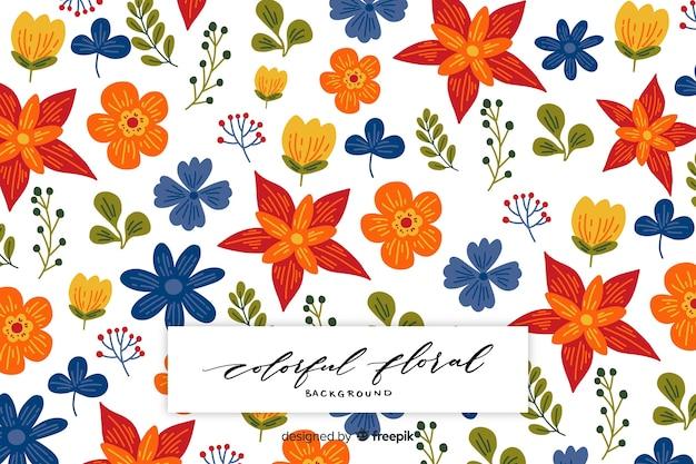 Fond floral coloré dessiné à la main
