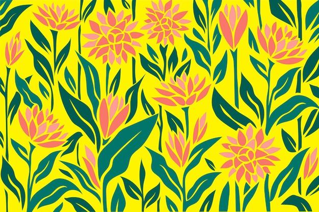 Fond floral coloré avec différentes fleurs et feuilles