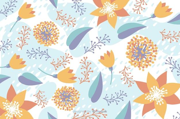 Fond floral de couleur pastel dessiné à la main