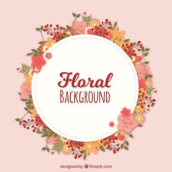 Fond floral avec une couronne