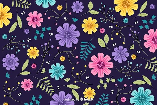 Fond floral dessiné belle main