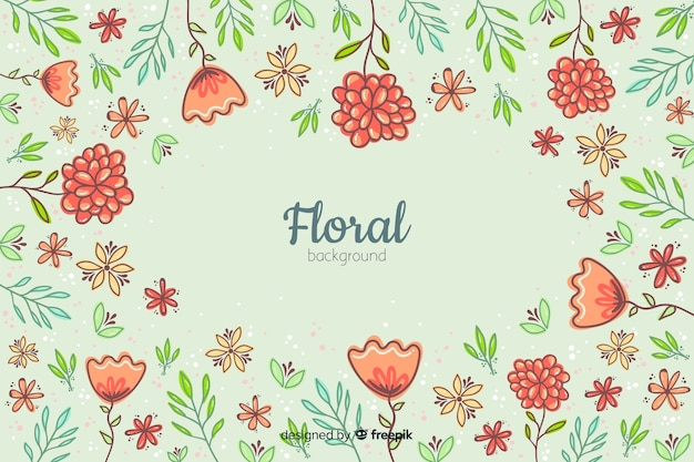 Fond floral dessiné main coloré