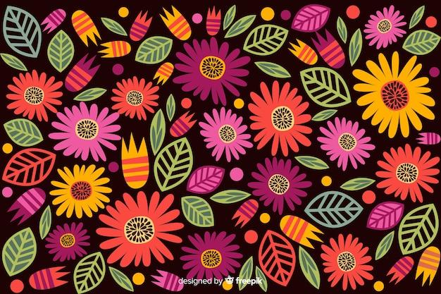 Fond floral dessiné main coloré