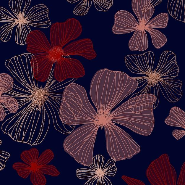 Fond floral dessiné à la main élégante