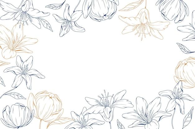 Fond floral dessiné à la main avec espace de copie