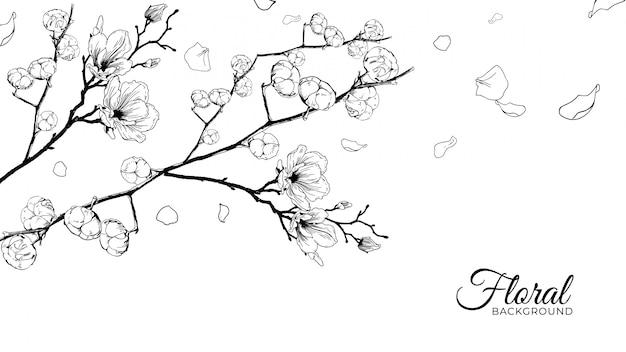 Fond floral dessiné à la main réaliste