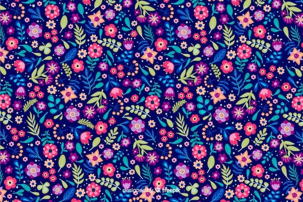 Fond floral ditsy avec différentes fleurs colorées
