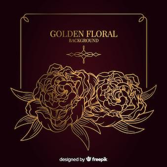 Fond floral doré dessiné à la main