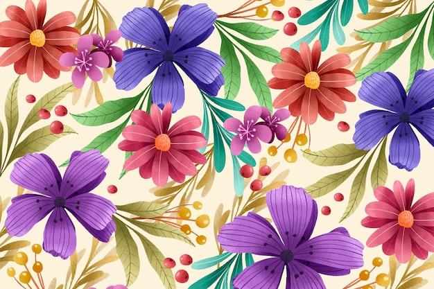 Fond floral avec effet de texture de grain