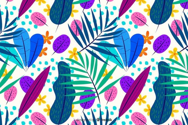 Fond floral exotique dessiné à la main