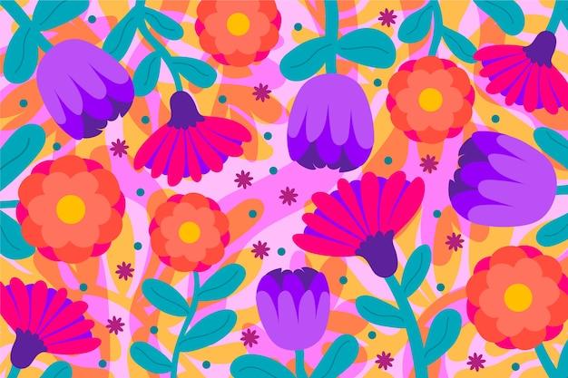 Fond floral exotique de fleurs colorées