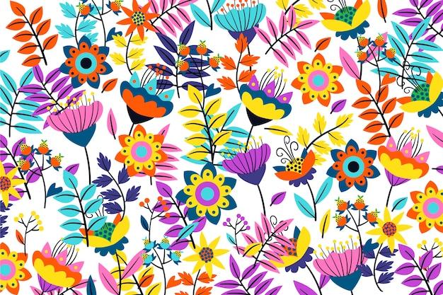 Fond floral exotique néon