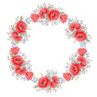 Fond floral avec fleur de pavot