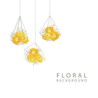 Fond floral avec la fleur de renoncule en terrarium