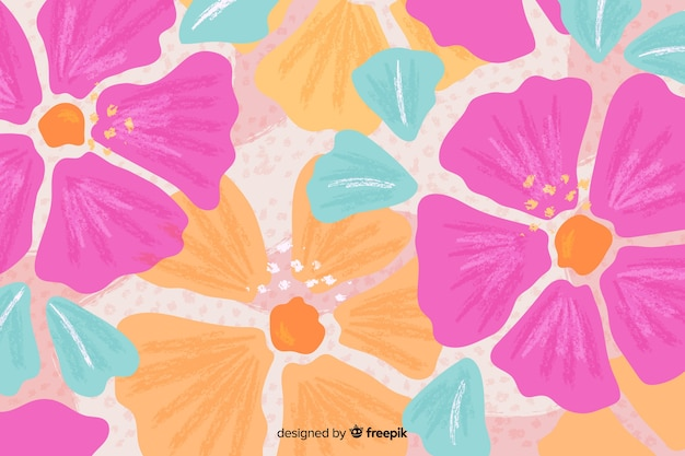Fond floral de fleurs dessinées à la main