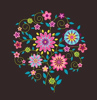 Fond floral folk sophistiqué brillant