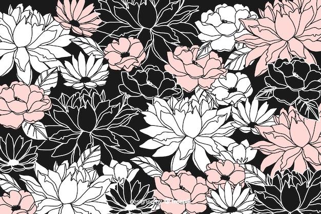 Fond floral foncé dessiné à la main