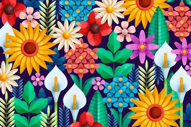 Fond floral géométrique avec texture de grain