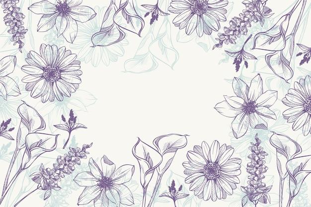Fond floral gravé linéaire dessiné à la main