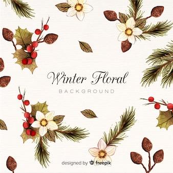 Fond floral d'hiver