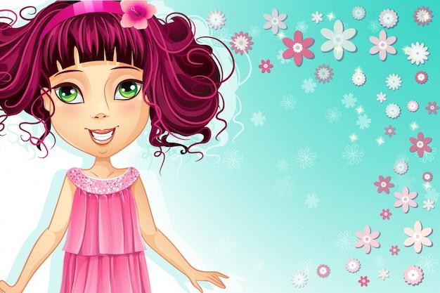 Fond floral avec une jeune fille dans une robe rose
