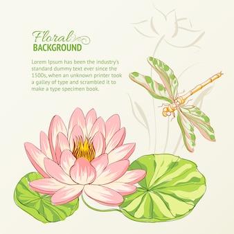 Fond floral avec libellule