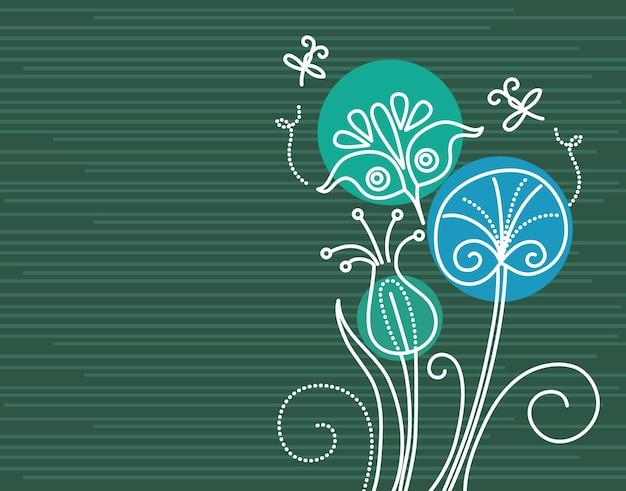 Fond floral avec des libellules de dessin animé