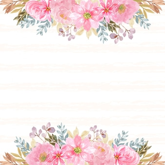 Fond floral avec de magnifiques fleurs roses et ligne abstraite