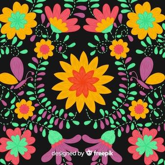Fond floral mexicain de broderie colorée