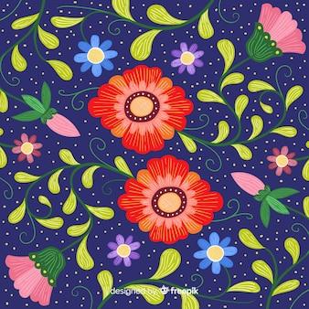 Fond floral mexicain de broderie