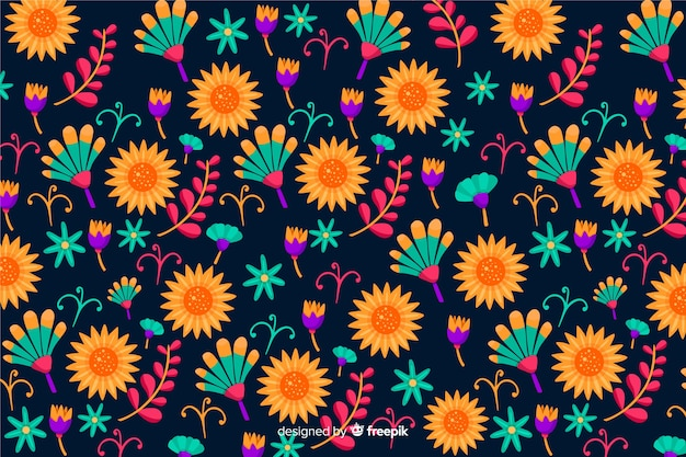 Fond floral mexicain