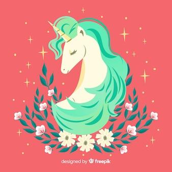 Fond floral mignon licorne