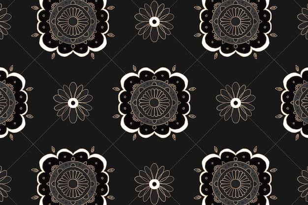 Fond floral motif indien mandala noir