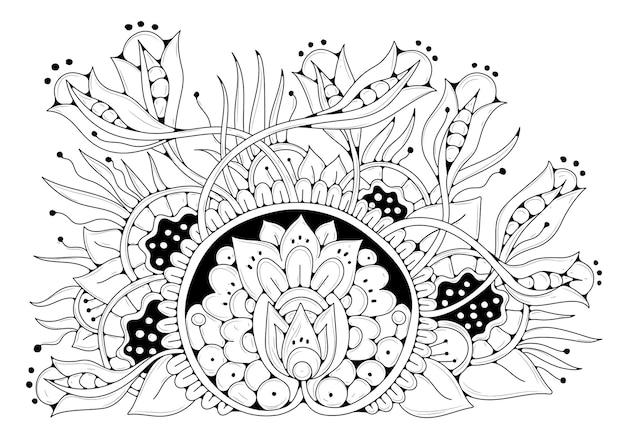 Fond floral noir et blanc de style doodle. coloriage pour enfants et adultes.