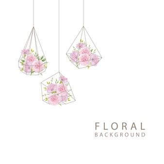 Fond floral avec oeillets roses en terrarium