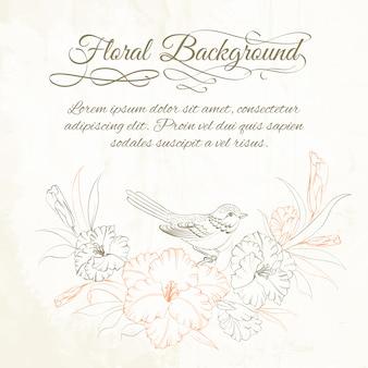 Fond floral avec oiseau