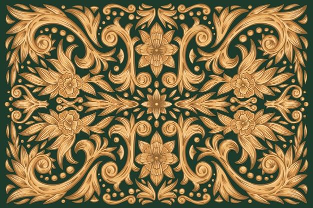 Fond floral ornemental doré