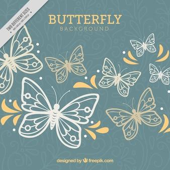 Fond floral avec des papillons et des formes jaunes