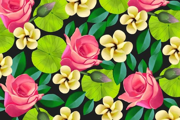 Fond floral peint coloré