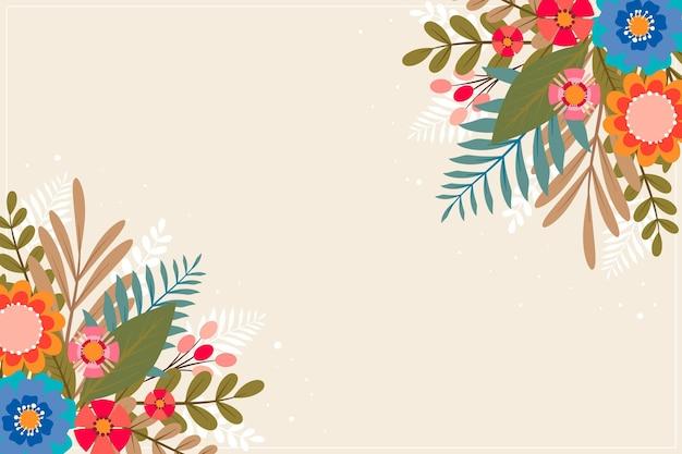 Fond floral plat avec illustration aquarelle dessinés à la main