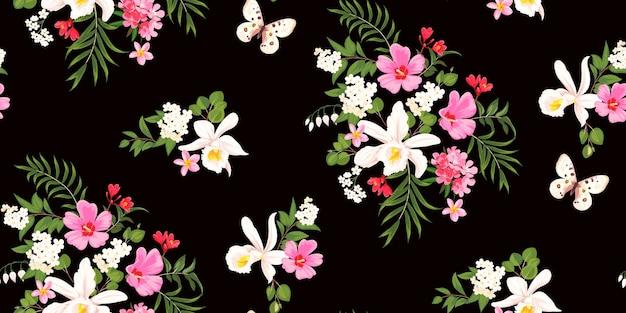Fond floral de printemps tropical sans couture avec des orchidées