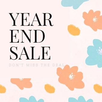 Fond floral de promotion de vente de fin d'année