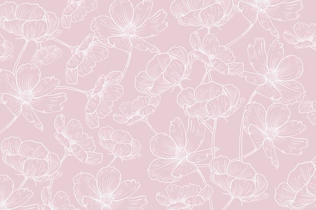Fond floral réaliste dessiné à la main