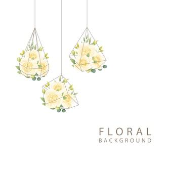 Fond floral avec rose blanche en terrarium