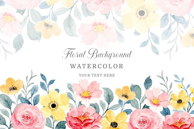 Fond floral rose et jaune avec aquarelle