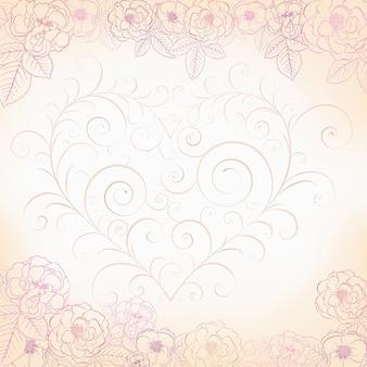 Fond floral avec des roses et un coeur fait de boucles