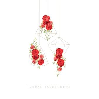 Fond floral avec des roses rouges de jardin en terrarium