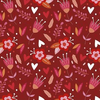 Fond floral rouge pour san valentine