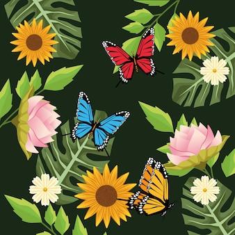 Fond floral avec scène de papillons et de fleurs en fond vert.
